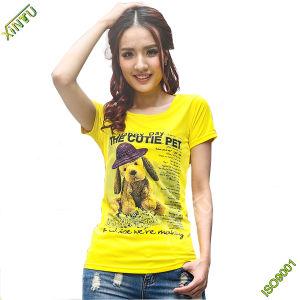 Wholesale 100% Cotton Lady′s Short Sleeve T Shirt (HG) pictures & photos
