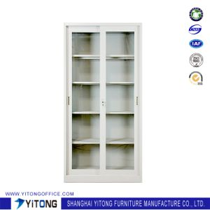 2-Door Glass Door Movable Door Metal Storage Cabinet / Office Use Steel File Cabinet pictures & photos