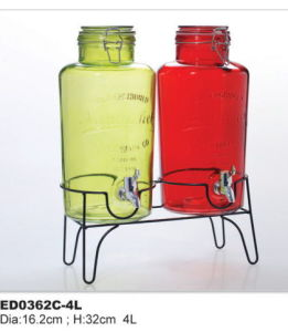 Glass Beverage Jar Special Type Juice Jar