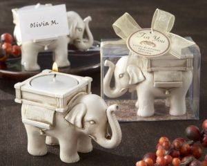 """Lucky Elephant"""" Antique Ivory-Finish Tea Light Holder Centerpieces Wedding Party Gift Wedding Giveaway Accessories Supplies"""