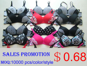 Sales Promotion Wire Free Printed Bra pictures & photos