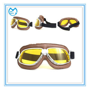 PU Leather Professional Eyewear Motocross Helmet Halley Goggles pictures & photos