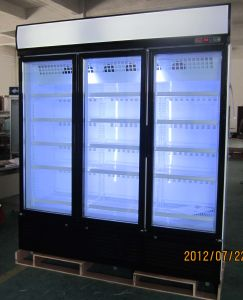 Upright Freezer, Vertical Beverage Freezer with Double Swing Glass Door pictures & photos
