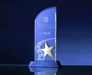 Crystal Award with Metal Star (WHTC-C0136)