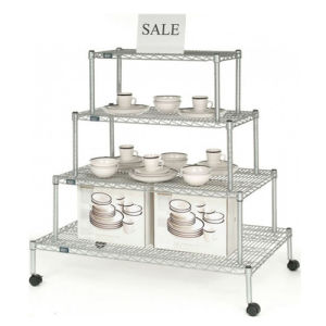 Metal Wire Display Rack, Display Stand Shelf with Wheels pictures & photos