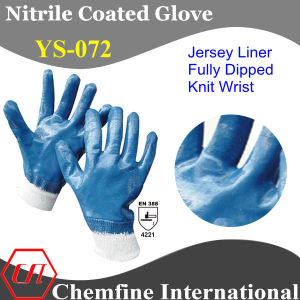 "Jersey Glove with Blue Nitrile Fully Coated & Open Back & Knit Wrist/ En388: 4221/ Size 8"", 9"", 10"", 11"" (YS-072) pictures & photos"