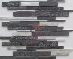 Long Strip Wall Used Aluminium and Stone Mixed Mosaic Tile (CFA109) pictures & photos