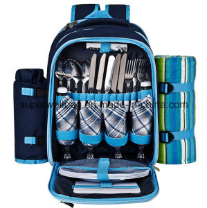 Picnic Backpack Bags for 4 with Cooler Compartment Bags pictures & photos