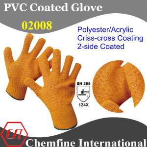 10g Orange Polyester/Acrylic Fiber Knitted Glove with 2-Side Orange PVC Criss-Cross Coating/ En388: 124X pictures & photos