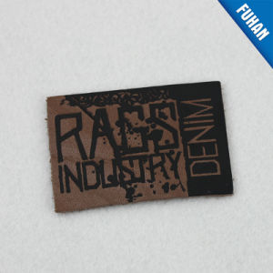 Rectangle Black Embossed Logo Leather Patch pictures & photos