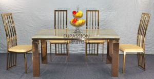 Gold Stainless Steel Dining Table with Marble and Glass Top