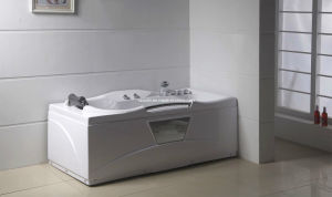 Square White Acrylic Sanitary Whirlpool Massage Bathtub (M-06) pictures & photos