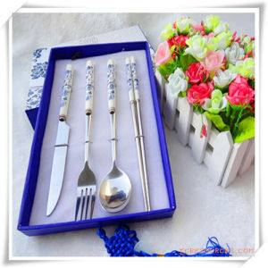 Stainless Steel Tableware Set with Blue and White Porcelain Design pictures & photos