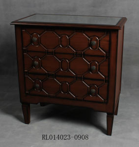 Solid Wood Carving Living Room Cabinet -3 Drw