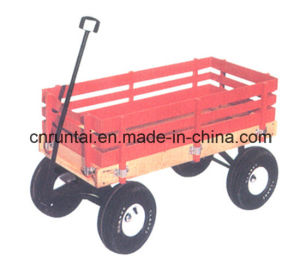 Red Wooden Tray Heavy Duty Garden Trailer Tool Cart pictures & photos