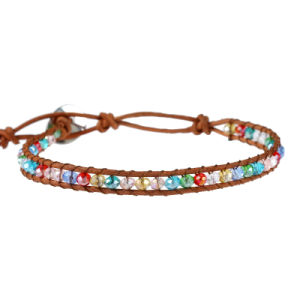 Leather Chain Natural Stone Beads Bracelet Rainbow Crystal Chakra Bracelets pictures & photos