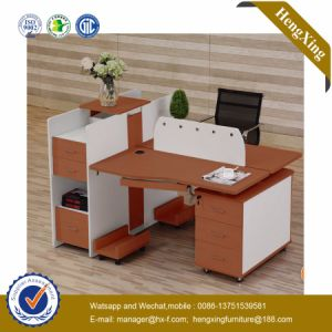 Modern 2 Seats Chinese Wooden Workstation MDF Office Furniture (HX-NCD072A) pictures & photos