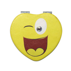 Heart Shape Decorative Cheap PU Pocket Mirror for Promotion Gift pictures & photos