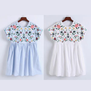 Fashion Women Leisure Casual Pleated Flower Embroidery T-Shirt Dress pictures & photos
