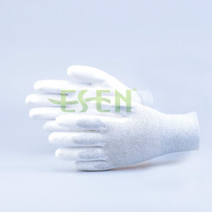 Best-Selling ESD Seamless Knitting Nylon Carbon Fiber PU Coated Dust Free Antistatic Work Gloves pictures & photos