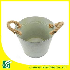 Home Garden Decoration Metal Zinc Bucket with Hemp Rope Handle pictures & photos