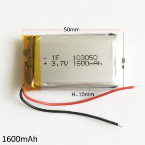 3.7V 1600mAh 103050 Lithium Polymer Li-Po Rechargeable Battery for MP3 GPS DVD Mobile Phone Pad E-book Tablet PC pictures & photos