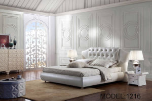 Elegant White Upholstered King Size Bed for Home (LB-042)