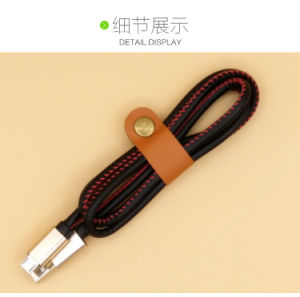 Colors Metal Aluminum Shell PU Leather USB Data Cable for Leather Jacket Devices pictures & photos