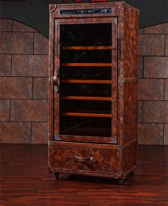 High Quality Vintage Leather Display Cabinet Wine Cabinet with Glass Door pictures & photos