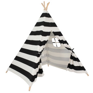 Black White Strap Wooden Pole Teepee Kids Playing Tent (MW6034) pictures & photos