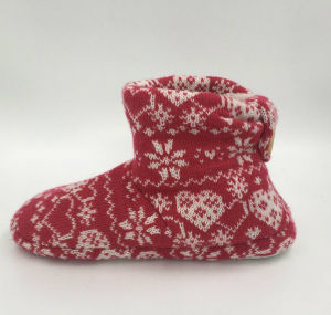 Red Knit MID-Calf Indoor Boots for Lds