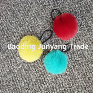 Online Shopping Faux Rabbit Fur POM Poms Key Chain pictures & photos