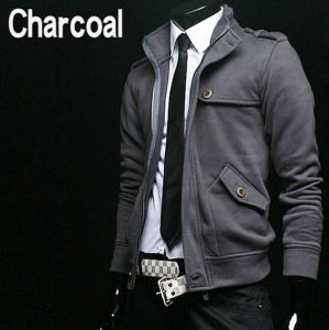 Fashion 100% Cotton Stand Collar Fashion Casual Men′s Fleece Jacket pictures & photos