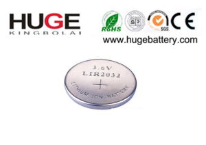3.6V Rechargeable Lithium Button Cell battery LIR2032 for toy pictures & photos