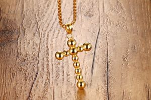 Fashion Titanium Stainless Steel Religious Beaded Cross Pendant Necklace Jewelry pictures & photos
