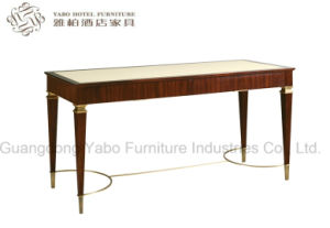 Solid Wood Writing Table with Leather Top pictures & photos