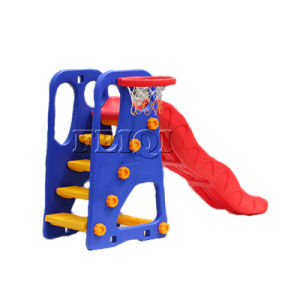 Good Quality Popular Large Indoor Plastic Slide with Plastic Basketball Stand pictures & photos
