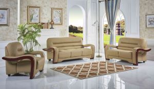 PU Leather Sofa with Wood Part pictures & photos