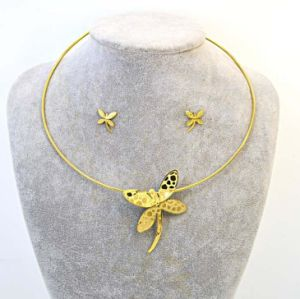 Fashion Butterfly Stainless Steel Choker Earring Collar Jewelry Set pictures & photos