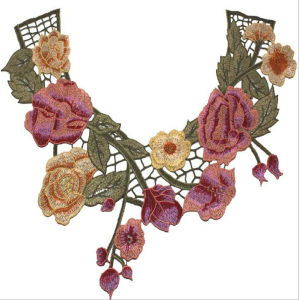 Fancy Embroidered Collar Neck Lace Flower Applique pictures & photos
