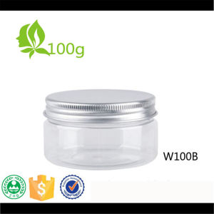 Round Clear Pet 100g Plastic Jar with Aluminium Lid pictures & photos