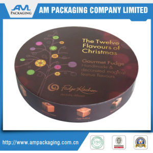 Customized Spot UV Printing Round Chocolate Gift Box with 9 Grids Plastic Insert pictures & photos