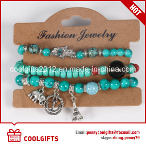 Colorful Beads Jewelry 3PCS Set Bracelet with Alloy Metal Pendent pictures & photos