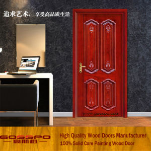 Solid Wood Unequal Double Entry Doors Wood Door for Sale (XS1-011) pictures & photos