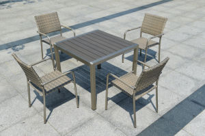 Patio Garden Outdoor Morden Gold Coating Home Hotel Office Polywood Leisure Table and Chair (J821) pictures & photos