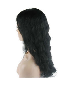 "18"" #1b Deep Wave Lace Front Wig pictures & photos"