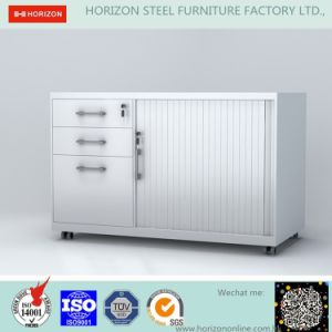 Tambour Door Cabinet Steel Furniture with 3 Drawers and Mobile /Glazed Door Cabinet pictures & photos