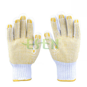 2017 Hot Sale Natural Cotton Knitted Working PVC Yellow DOT Glove pictures & photos