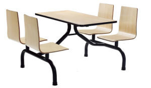 Fast Food Coffee Cafeteria Furniture Plywood Table and Chair Set pictures & photos