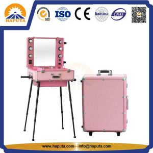 Large Aluminium Cosmetic Box with Legs and Lights (HB-3503) pictures & photos
